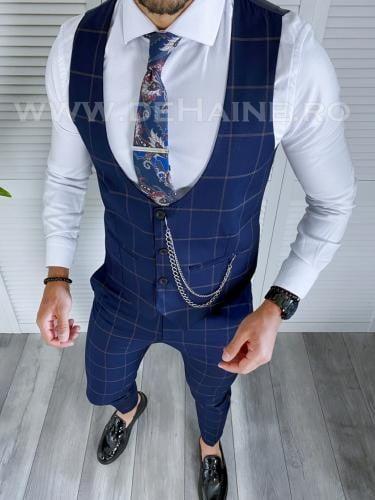 Compleu barbati in carouri Vesta + Pantaloni B4046 X13-1 - Costume barbatesti -