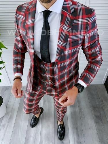 Costum barbati slim fit + Vesta A7808 - Costume barbatesti -