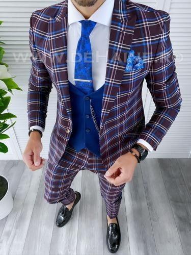 Costum barbati slim fit + Vesta B4220 - Costume barbatesti -