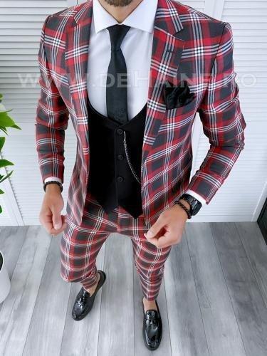 Costum barbati slim fit + Vesta B4221 - Costume barbatesti -