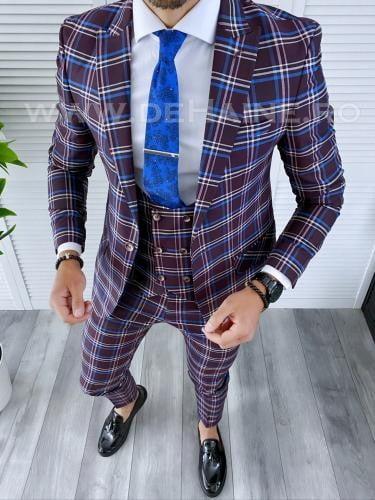 Costum barbati slim fit + Vesta B4224 - Costume barbatesti -