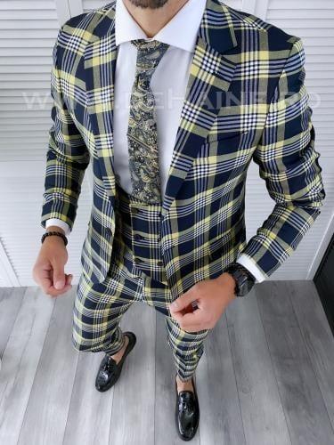 Costum barbati slim fit + Vesta B4225 - Costume barbatesti -