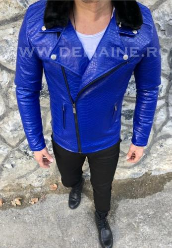 Geaca barbati albastra piele ecologica B2819 25-4 - Geci pentru barbati -