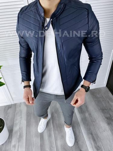 Geaca barbati bleumarin piele ecologica B2805 N1-2/** - Geci pentru barbati -