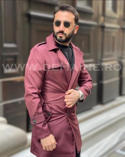 Palton barbati de primavara grena slim fit B3826 - Imbracaminte barbati - Paltoane