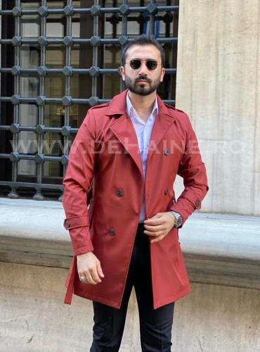Palton barbati de primavara rosu slim fit B3871 - Imbracaminte barbati - Paltoane