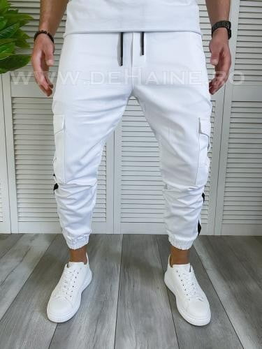 Pantaloni barbati albi casual B3918 7-3 4 - Pantaloni barbati -  Pantaloni casual