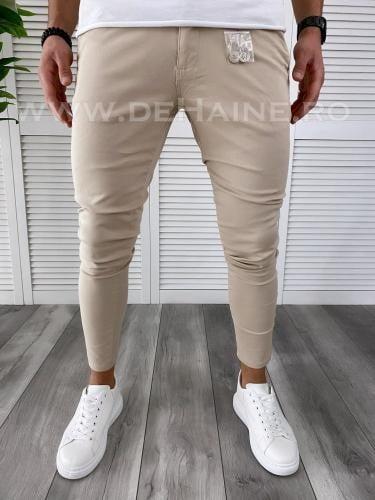 Pantaloni barbati bej casual B3791 B3-4 - Pantaloni barbati -  Pantaloni casual
