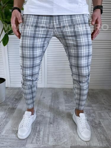 Pantaloni barbati casual in carouri P18038 85-3 - Pantaloni barbati -  Pantaloni casual