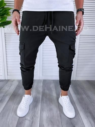 Pantaloni barbati negri casual B3918 D5-4 - Pantaloni barbati -  Pantaloni casual