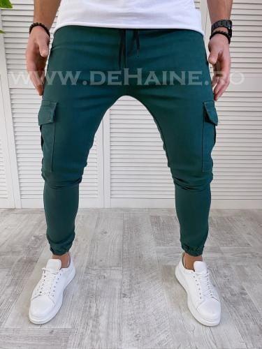 Pantaloni barbati verzi smart casual B2954 D7-2 - Pantaloni barbati -  Pantaloni casual