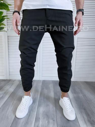 Pantaloni casual conici negri B1302 B7-4 - Pantaloni barbati -  Pantaloni casual
