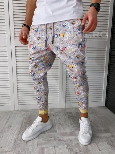 Pantaloni de trening bej conici 2646 N6-2 - Pantaloni barbati -