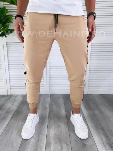 Pantaloni de trening bej conici B3057 114-2 - Pantaloni barbati -