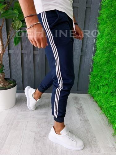 Pantaloni de trening conici bleumarin A6156 O2-43 - Pantaloni barbati -
