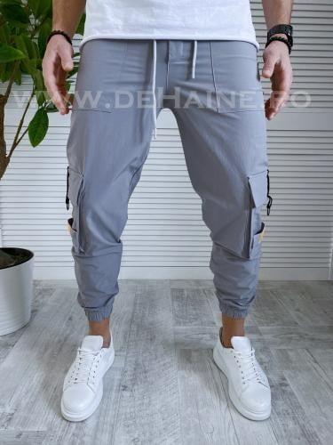 Pantaloni de trening conici gri B3388 10-3 - Pantaloni barbati -