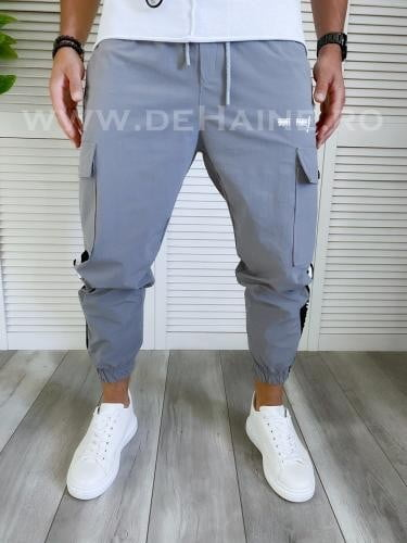 Pantaloni de trening conici gri B3999 16-2 - Pantaloni barbati -