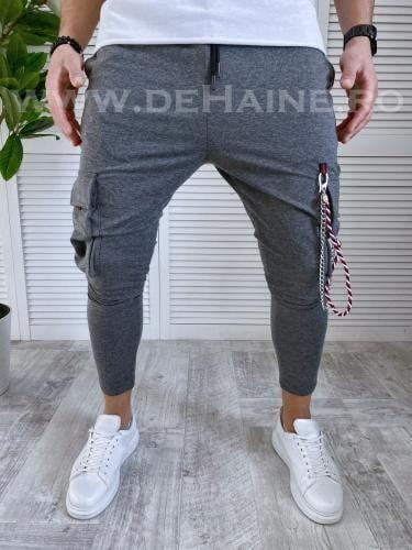 Pantaloni de trening conici gri inchis B2036 D7-3 - Pantaloni barbati -