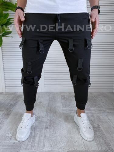 Pantaloni de trening conici negri B2028 85-1 - Pantaloni barbati -