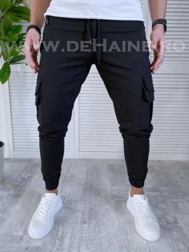 Pantaloni de trening conici negri B3563 O3-43 - Pantaloni barbati -