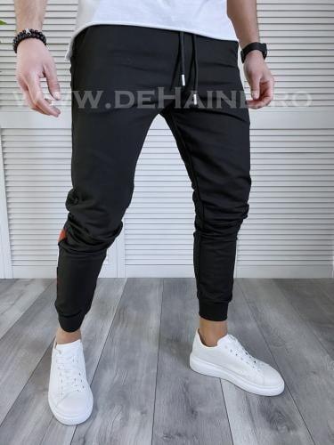 Pantaloni de trening conici negri B3719 115-1 - Pantaloni barbati -