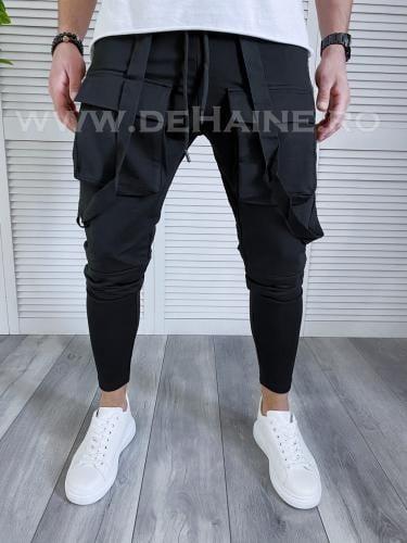 Pantaloni de trening conici negri B3763 D3-3 - Pantaloni barbati -