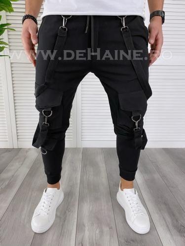 Pantaloni de trening conici negri B3800 111-45 - Pantaloni barbati -