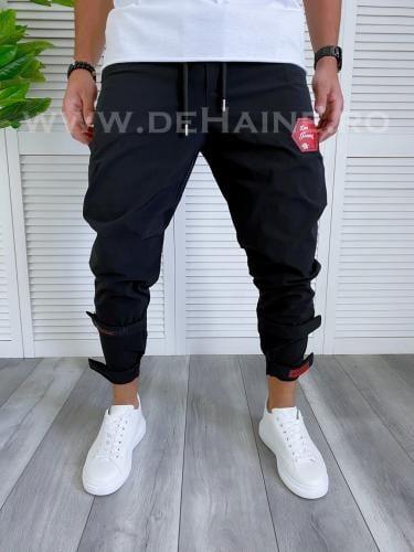 Pantaloni de trening conici negri B3993 16-2 - Pantaloni barbati -