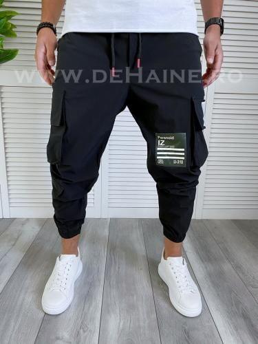 Pantaloni de trening conici negri B3998 16-1 - Pantaloni barbati -
