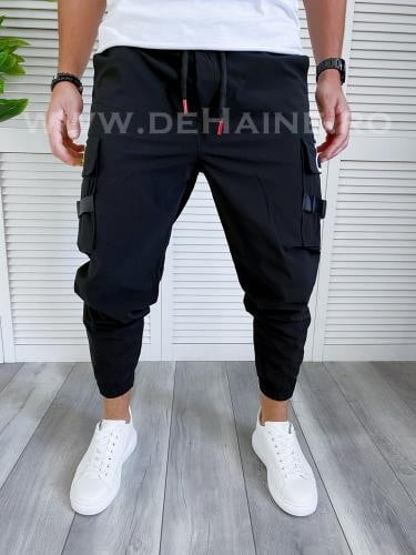Pantaloni de trening conici negri B4000 16-1 - Pantaloni barbati -