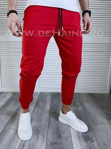 Pantaloni de trening conici rosii B3719 D7-4 - Pantaloni barbati -