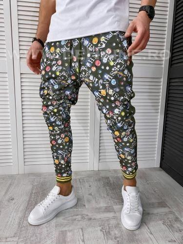 Pantaloni de trening kaki conici 2646 N6-1 - Pantaloni barbati -