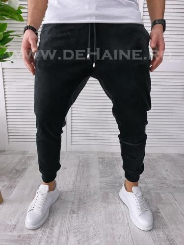 Pantaloni de trening negri conici B3408 N5 - Pantaloni barbati -