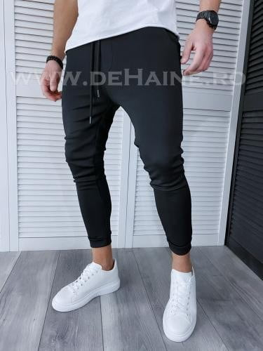 Pantaloni de trening negri conici TP1044 D3-2 - Pantaloni barbati -