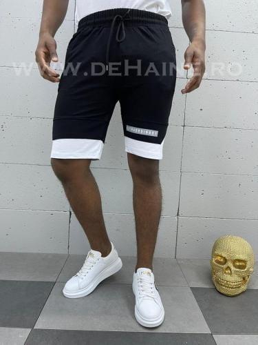 Pantaloni scurti de trening negri cu alb B3931 20-2 - Pantaloni barbati - Pantaloni scurti