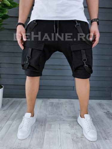 Pantaloni scurti de trening stil VAGABOND negri A9179 X22 - Pantaloni barbati - Pantaloni scurti