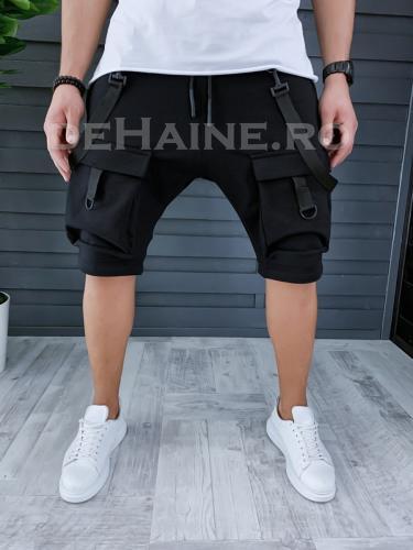 Pantaloni scurti de trening stil VAGABOND negri A9181 X22 - Pantaloni barbati - Pantaloni scurti