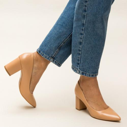 Pantofi Allman Bej - Pantofi eleganti - Pantofi cu toc gros