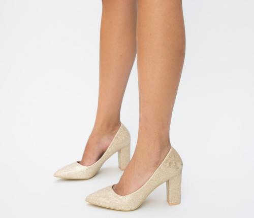 Pantofi Antic Aurii - Pantofi eleganti - Pantofi cu toc gros