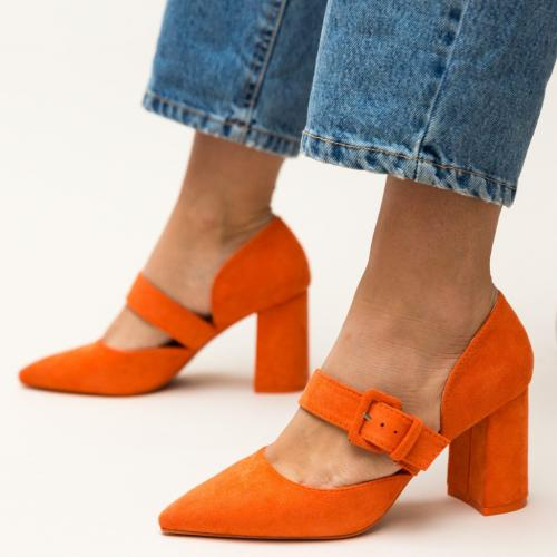 Pantofi Dionne Portocalii - Pantofi eleganti - Pantofi cu toc gros