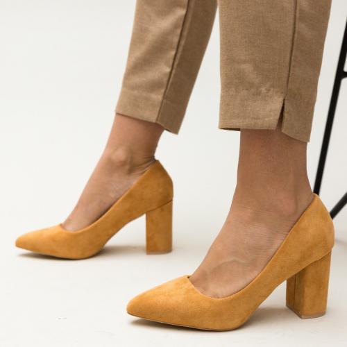 Pantofi Faulker Camel - Pantofi eleganti - Pantofi cu toc gros