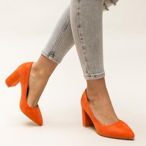 Pantofi Faulker Portocalii - Pantofi eleganti - Pantofi cu toc gros