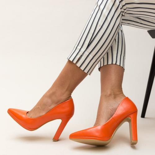 Pantofi Freddy Portocalii - Pantofi eleganti - Pantofi cu toc gros