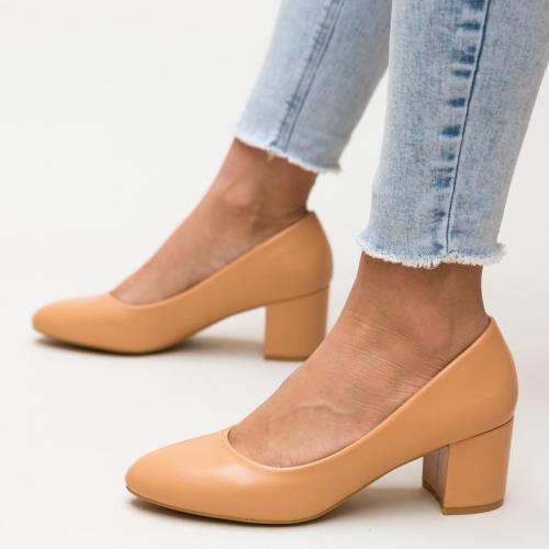 Pantofi Hummer Nude - Pantofi eleganti - Pantofi cu toc gros
