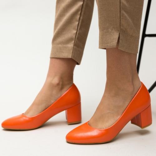 Pantofi Hummer Portocalii - Pantofi eleganti - Pantofi cu toc gros