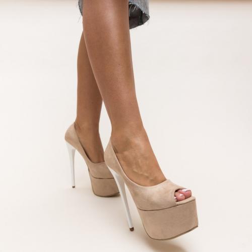 Pantofi Sabija Bej - Pantofi eleganti - Pantofi cu toc si platforma