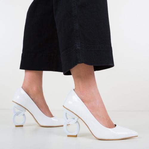 Pantofi Simoni Albi - Pantofi eleganti - Pantofi cu toc subtire