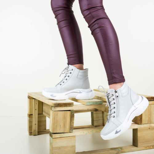 Pantofi Sport Ford Argintii - Ghete pentru femei - Ghete de iarna imblanite