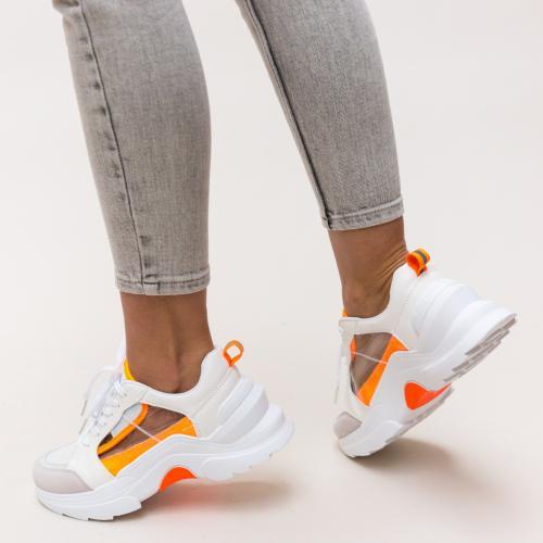 Pantofi Sport Nigen Albi - Incaltaminte sport dama - Pantofi sport cu platforma