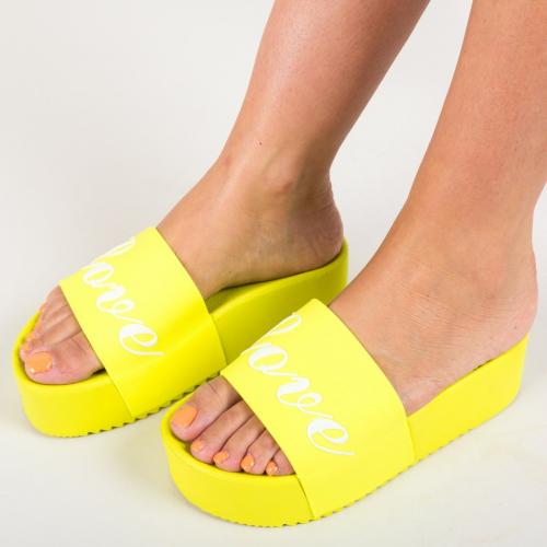 Papuci Connor Galbeni (Neon) - Sandale dama ieftine - Slapi